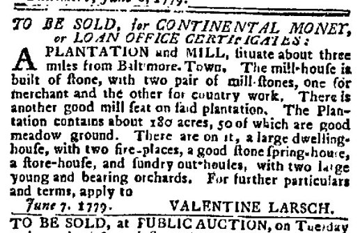 (1779) Maryland Journal June 8, 1779 (Larsh's Mill)