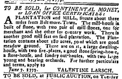 (1779) Maryland Journal June 8, 1779 (Larsh's Mill)