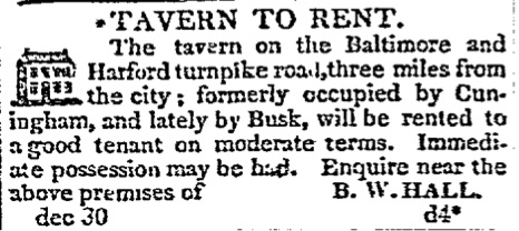 Baltimore Patriot December 1822 (Halls Springs Tavern for Rent)