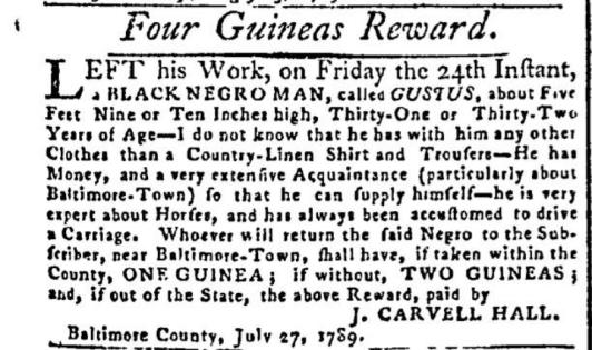1789 Slave Ad