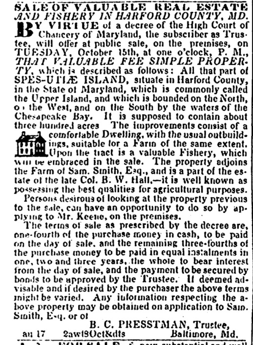 (1844) American and Commericial Daily Advertiser August 24, 1844 (sale of Hall's Spesutie Island) Cropped