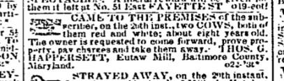 (1852) Baltimore Sun October 23, 1852 (tenant at Eutaw Mill)