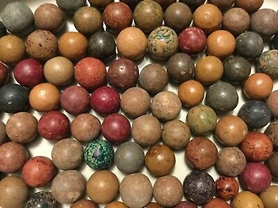 Vintage-Lot-Of-100-Early-Antique-Clay-Marbles